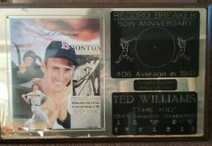 HAND SIGNED PLAQUE BY TED WILLIAMS BOSTON RED SOX 50TH ANN 1941 STATS *COA   30