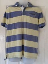 "Tommy Hilfiger Mens polo t-shirt Yellow Grey block stripe 36"" custom fit"