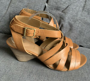 Clarks Ladies Sandals 7.5 E  Summer Holiday Mid Heel Tan Leather Smart Casual