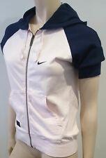 NIKE RANDALLS ISLAND Pale Pink & Navy Short Sleeve Hooded Hoodie Sweater M