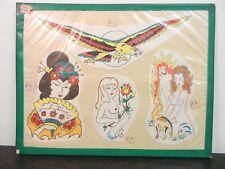 Vintage Mano Color Tatuaje Flash tarjeta de la hoja historia británica
