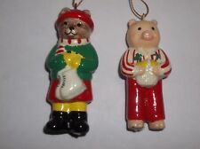Vintage 1982 Midwest Of Cannon Falls Christmas BEAR Pig Ornaments Set Of 2