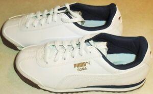 Puma Roma White Navy Blue Preschool Kids Shoes sz. 1 Brand New with box