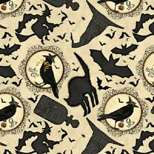 COME SIT A SPELL RAVENS WITCH'S HATS BLACK CATS HALLOWEEN FABRIC