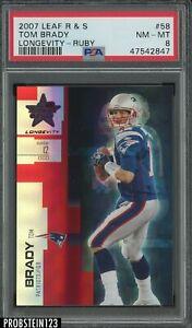 2007 Leaf R & S Longevity Ruby #58 Tom Brady New England Patriots /249 PSA 8