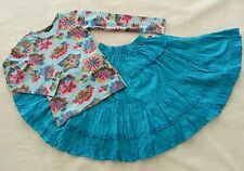 OILILY Top & Skirt Set 128 8 9 Turquoise Blue Floral Twingy Dress Room Seven