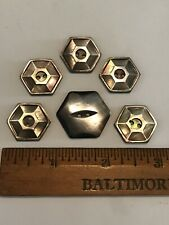 5 Matching Carved Mother Of Pearl Smoky Colored Star Hexagon Shell Button Lot 6