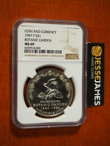 1997 P $1 SILVER BOTANIC GARDEN DOLLAR NGC MS69 FROM COIN & CURRENCY SET LABEL