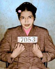 "ROSA PARKS 1955 MUGSHOT AMERICAN CIVIL RIGHTS 8x10"" HAND COLOR TINTED PHOTO"