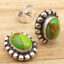 Free Shipping on Additional Items, Silver Plated Green Copper Turquoise Earrings