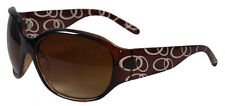 Classy Brown Plastic Sunglasses Large Brown Tinted Lens Clear Circles Design