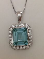 "Sterling Silver Aqua Marine Surround With CZ  Pendant And Chain 17"" Signed Thai"