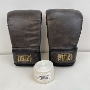 New Everlast Training Gloves Hand Wrap Heavy Bag Component Kit Brown 1127-50