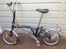 Black Brompton Folding Bike 3 Gears Mudguards Luggage Rack Pump Bell