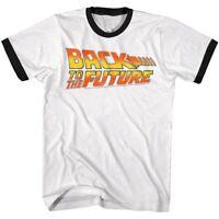 Back to The Future Vintage Movie Logo Men's Ringer T Shirt Classic Retro 80's
