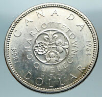 1964 CANADA Quebec Charlottetown Antique Genuine BIG SILVER Dollar Coin i84353