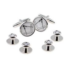 White Masonic No G Cufflinks & 4 Studs Set - X2Boc263A