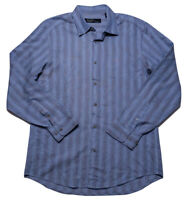 JHANE BARNES Frequency Long Sleeve Button Shirt Blue Wavy Striped Small S Fit