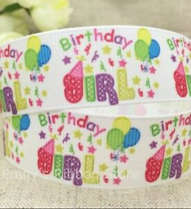 "BIRTHDAY GIRL Grosgrain RIBBON 1m x 22mm width (7/8"") cake cupcakes party"