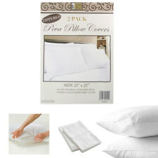 2 White Hotel Pillow Plastic Cover Case Waterproof Zipper Protector Bed 21 X 27