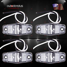 4pcs LED Light 2 Diode Clear/Red Universal Mount Clearance Side Marker Trailer