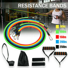 11PCS Yoga Pilates Resistance Bands Set Abs Exercise Fitness Tube Workout Tools