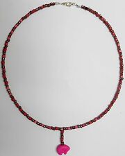 """Tohono O'odham Indian Pink Magnesite Bear 20"""" choker & Pink squares by Dave H."""