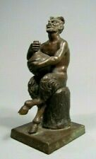Very Fine European Bronze Statue of a Seated Pan Holding a jug ca. 19-20th c.