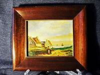 Antique Signed H Wester Original Oil on Wood Sm. Framed Dutch Landscape Painting