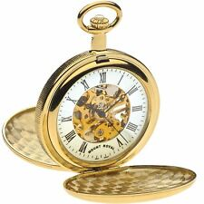 Skeleton Pocket Watch Gold Plated Full Double Hunter Polished - 17 Jewel - Box