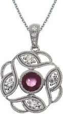 14K White Gold Round Ruby Open Pendant (Chain NOT included)