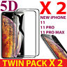 2 X FOR iPHONE X,XR,XS-MAX,11 Pro 100% 5D FULL COVERAGE TEMPERED GLASS PROTECTOR