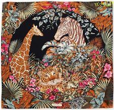 SALVATORE FERRAGAMO navy Floral brown TIGER, ZEBRA & GIRAFFE silk scarf NIB Auth