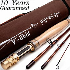6WT Fly Rod 9FT 4Piece Fast Action (Graphite IM12) Fly Fishing Rod&Cordura Tube