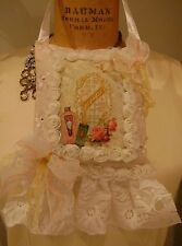 Door Hanging Paris Chic Shabby pink eyelet lace ruffle rose ribbon H M  pillow