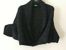 Black & White Chunky Knit Wool Shrug by United Colors of Benetton   One Size