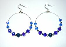 HUGE 50MM SPARKLY BEADED HOOPS EARRINGS IN SAPPHIRE & NAVY BLUE