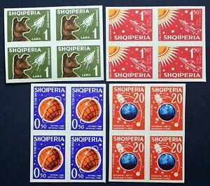 Albania 1962 Scott 621-624 MNH imperf Laika space dog Sputnik C/V $260,00