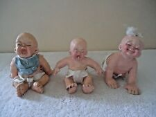"""Vintage 1993 Set Of 3 Cast Art Babies 2 Crying /  1 Crawling """" GREAT COLLECTIBLE"""