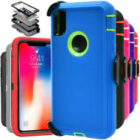 For Apple iPhone XS XR MAX Shockproof Rugged Hard Case Cover With Belt Clip