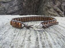 Great Gift South Western Cowboy Hat Copper Magnetic Brown Leather Bracelet