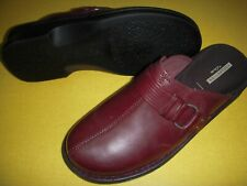 Clarks Patty Lorene Leather Slip-On Clogs Mules Shoes Women's 7.5 W Burgandy