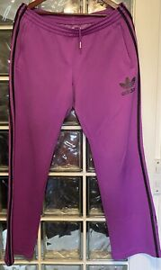 Adidas TT Tracksuit Bottoms L Purple Lilac Sz16 Zip Leg OG Originals Vgc Large