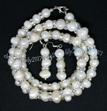 Genuine 8-9mm Natural White Freshwater Pearl Necklace Bracelet Earrings Set