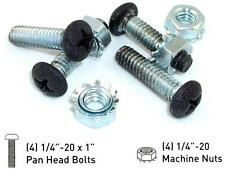8 PAN HEAD BOLTS w MACHINE NUTS 1/4-20 X 1 BLACK POWDER COATED STAINLESS STEEL