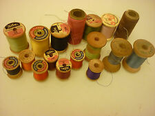 Vintage Collections of 17 Wooden Thread Spools Sewing