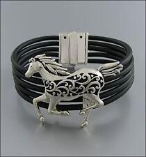 NEW Shiny Silver Filigree Galloping Horse Bracelet