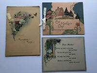 Vintage Victorian Mother's Day Greeting Card Lot of 3 Hand Painted Silk Ribbons