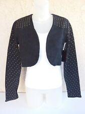 Bongo Crop top Jacket women's Black Denim Long Sleeve Studded Stone Wash M