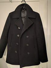 Mens Vintage Black Wool Blend Japanese Slim Fit Pea Coat Jacket Sz 46 Small S XS
